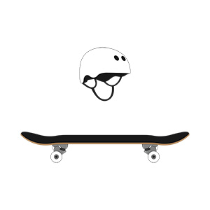 Skateboard And Helmet Illustration