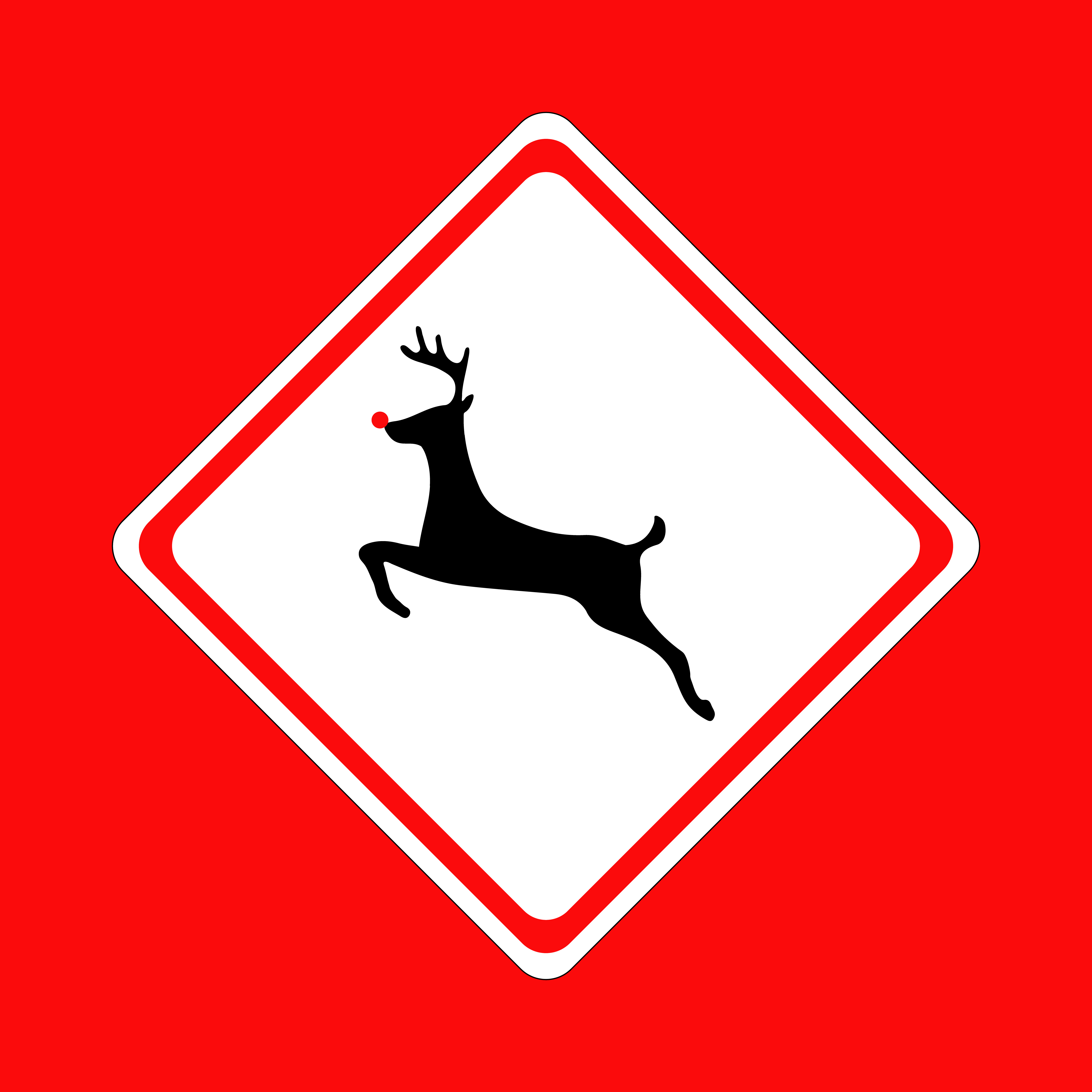 Christmas Reindeer Street Sign Illustration