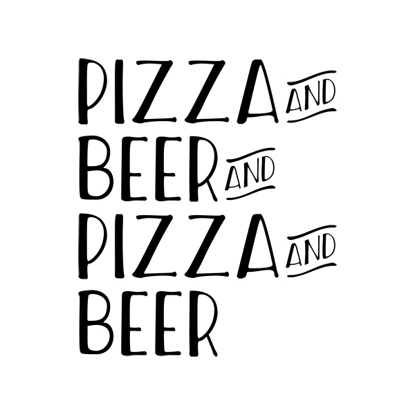 Pizza And Beer Typography Design